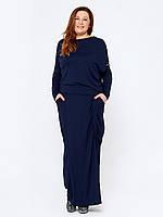 86be53da2b50f13 Синее шифоновое платье для полных женщин Девис, цена 760 грн ...