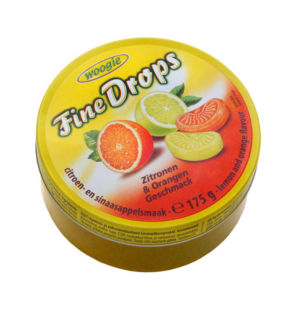 Леденцы Woogie Fine Drops лимон и апельсин 175 g