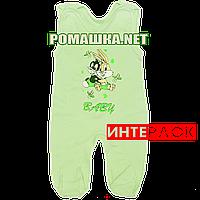 Ползунки высокие с застежкой на плечах р. 56 демисезонные ткань ИНТЕРЛОК 100% хлопок ТМ Алекс 3143 Зеленый А