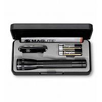 MAGLITE-SET  Набор нож 58мм/7предм/черн + фонарь Mini-Maglite AA 14,5см в футляре