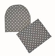 Комплект шапочка и снуд демисезонный детский трикотажный для девочки