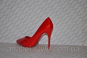 Туфли лодочки на высокой шпильке  лаковые красного цвета, фото 3