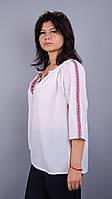 Соломия. Блуза с вышивкой супер батал. Белый.