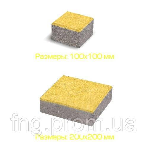 ЗОЛОТОЙ МАНДАРИН Тротуарная плитка Квадрат большой 200х200х60 мм желтый на белом цементе