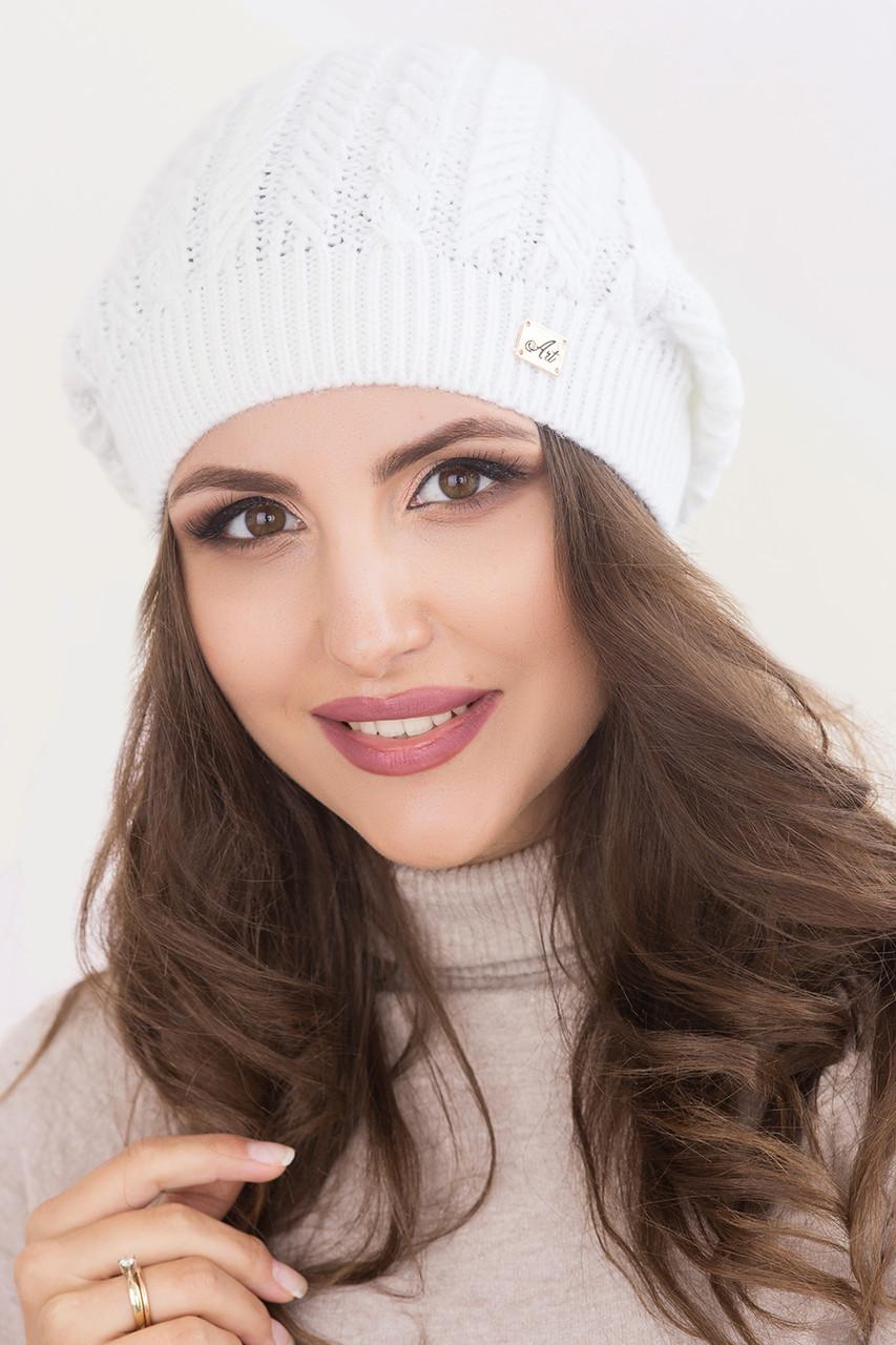 Женская шапка «Глория» (колпак) Без Помпона, Без, Колпак, Белый