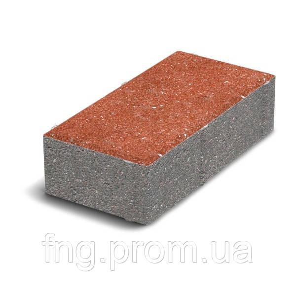 ЗОЛОТОЙ МАНДАРИН Тротуарная плитка Кирпич без фаски 200х100х60 мм красный на сером цементе