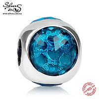 """Серебряная подвеска шарм Пандора (Pandora) """"Голубая солнечная капелька 1771"""" для браслета бусина"""