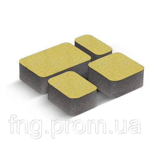 ЗОЛОТОЙ МАНДАРИН Тротуарная плитка Старый город 120х80 мм желтый на сером цементе