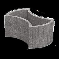 ЗОЛОТОЙ МАНДАРИН Цветочница круглая 660х450х250 мм горчичный на сером цементе