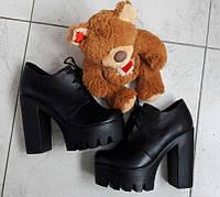 Кожаные туфли на шнурках на толстом каблуке