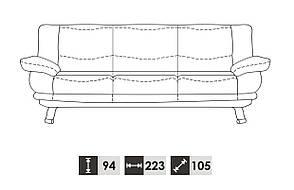 Прямой кожаный диван ALASKA III (223 см), фото 2