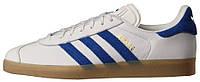 Мужские кожаные кроссовки Adidas Gazelle Vintage White/Bold Blue/Gum (Адидас Газели) белые