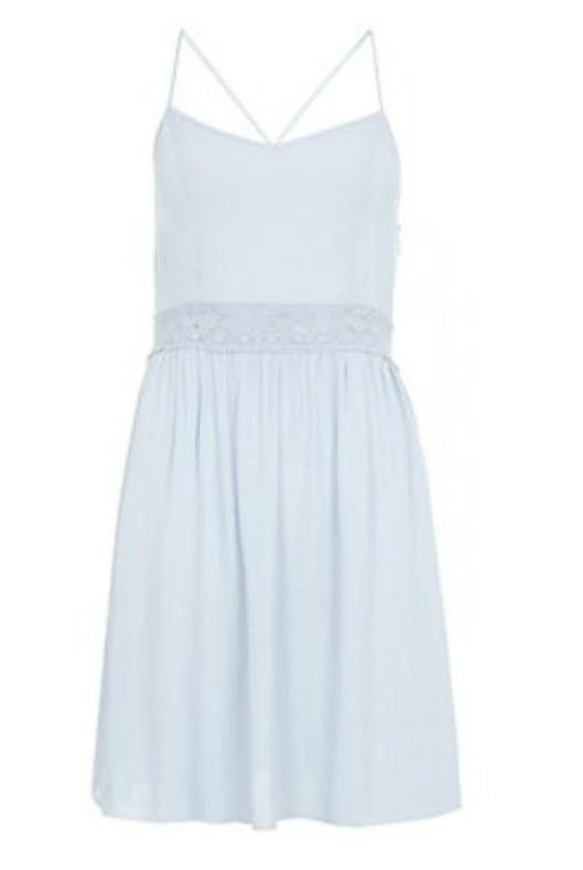 Платье цвета мяты с кружевом на талии и скрещенными бретельками New Look
