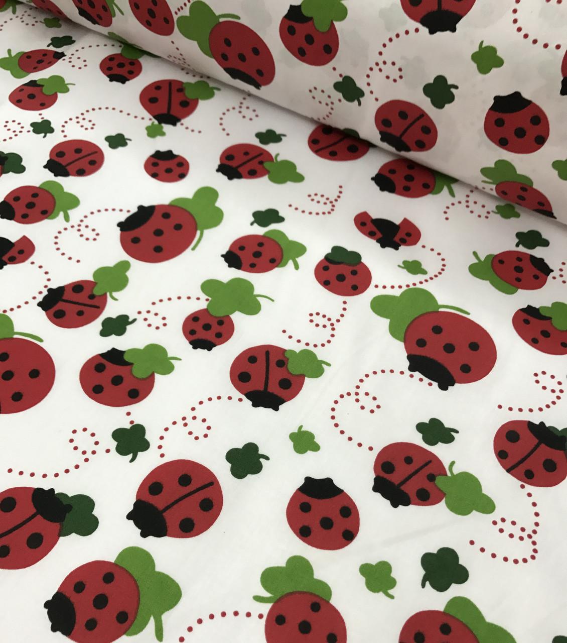 Бавовняна тканина польська сонечка червоні на білому №595