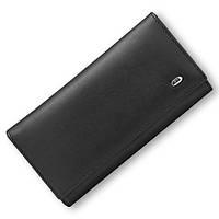 Стильный матовый кожаный кошелек ST в черном цвете с блоком для кредитных карт (15161)