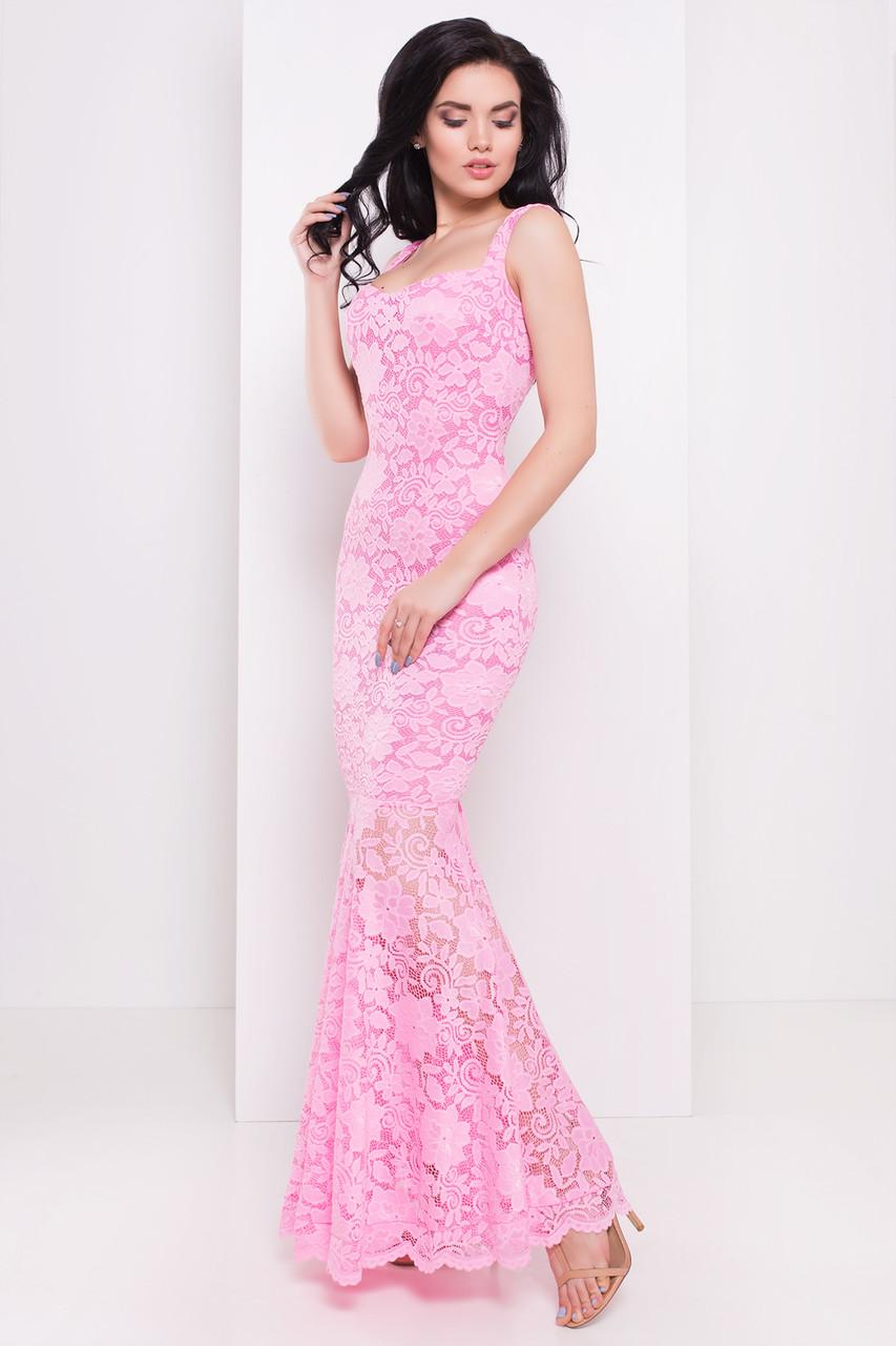 973734211467c76 Вечернее платье макси из гипюра розового цвета. Модель 16059. - Irse в  Одессе