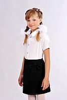 Черная школьная юбка с бантом