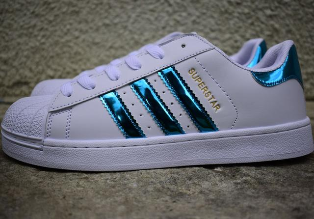 Жіночі Adidas SuperStar white blue(реплика) 609636ffc1b62