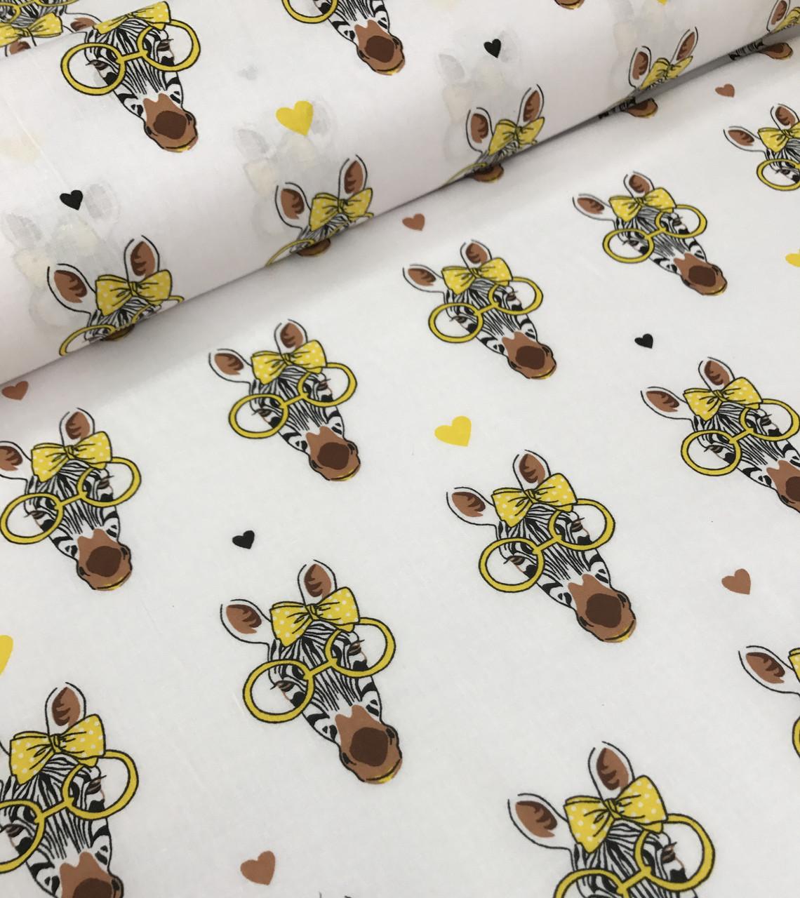 Хлопковая ткань польская зебры в желтых очках на белом №594