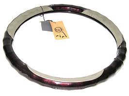 Оплетка LUX 004 G L дерево/кожа серая под пальци