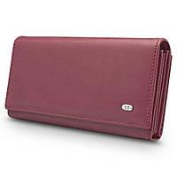Стильный матовый кожаный кошелек ST в темно красном цвете с блоком для кредитных карт (15163)