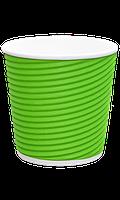Бумажный стаканчик с гофро стенками GREEN 185 мл