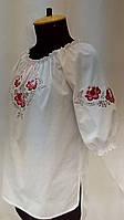 """Вышиванка дизайнерская вышитая блузка из белой х/б ткани с разноцветной машинной вышивкой блузка """"Гжель"""""""