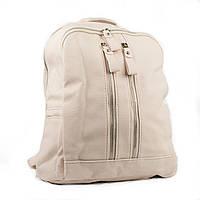 Женский рюкзак из эко-кожи бежевый с вертикальными молниями