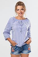 Женская летняя голубая блузка с мелкими рюшами в полоску