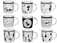 Чашка 360мл Коты черно-белая 2183