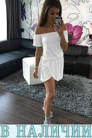 Воздушное летнее платье со спущенными плечами и резинкой по талии Amareta