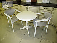 Кофейный стол + два стул-кресла с подлокотниками. Цвет белый, ваниль.