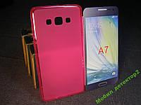 Чехол бампер силиконовый Samsung A7 A700 розовый