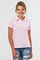 Нежная розовая женская футболка поло