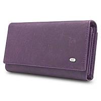 Стильный матовый кожаный кошелек ST в фиолетовом цвете с блоком для кредитных карт (15166)