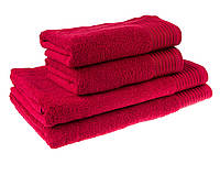 Однотонное большое полотенце махровое красное с бордюром 100% хлопок стандарт