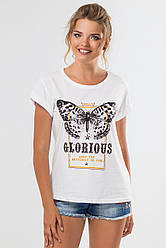 Летняя женская белая футболка Glorious с подворотами на рукавах