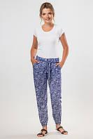 Синие летние штапельные брюки с узором и пояском