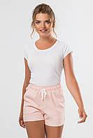 Пудровые женские льняные шорты с карманами