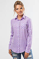 Стильная женская рубашка с длинным рукавом в сиреневую клетку