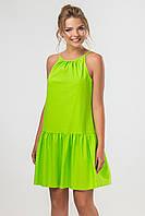 Салатовое платье-сарафан выше колена с завязками на спинке