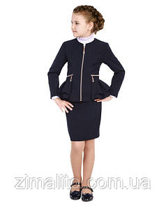 Пиджак для девочки со змейками темно-синий