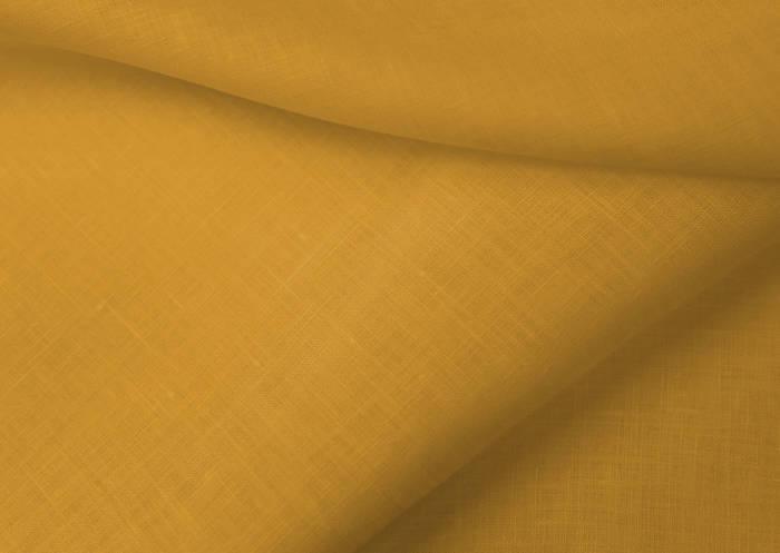 Золотистая льняная ткань 100% лен, цвет 380