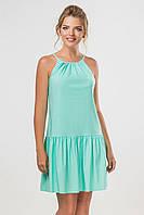 Мятное платье-сарафан выше колена с завязками на спинке
