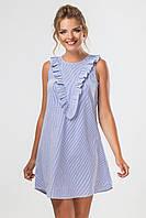 Летнее синее платье с рюшами на груди без рукавов