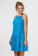 Бирюзовое платье-сарафан выше колена с завязками на спинке