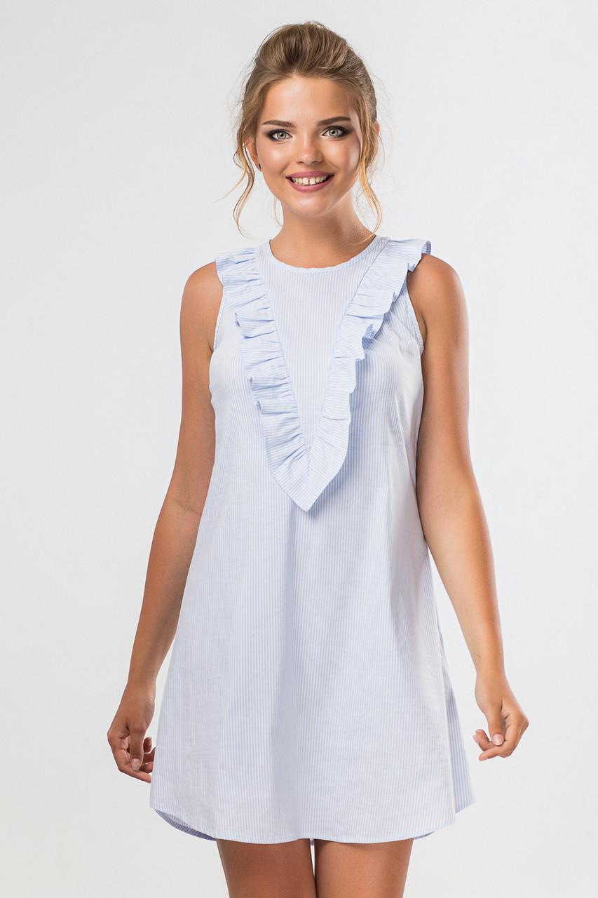 Платье без рукавов, отделка бижутерией на плечах