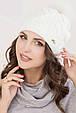 Женская шапка «Ирен» с цветным песцовым помпоном, фото 3