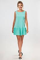 Летнее женское мятое платье с рюшами на подоле без рукавов