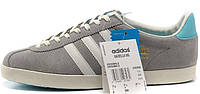 Мужские кроссовки Adidas Gazelle OG Trainers Grey/White (Адидас Газели) серые